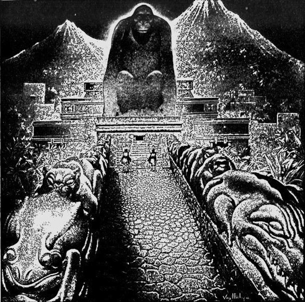 "Ancient myth: Artist Virgil Finlay's conceptional drawing of Theodore Moore's ""Lost City of the Monkey God"""