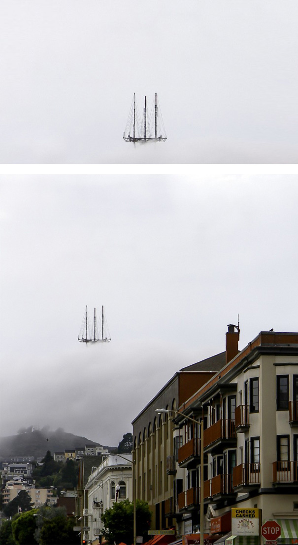 This Picture Of Sutro Tower In San Francisco Makes It Look Like The Top Of A Floating Ship